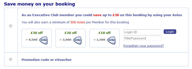 British Airways Avios Part Payment