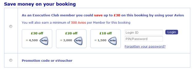 British Airways Avios Part Payment